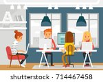 co working space with... | Shutterstock .eps vector #714467458