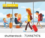 people in the airport terminal | Shutterstock .eps vector #714467476
