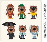 set funny teddy bear in... | Shutterstock .eps vector #714468652