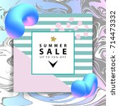 summer sale banner. square....   Shutterstock .eps vector #714473332