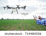 farmer control agriculture... | Shutterstock . vector #714484336
