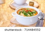 delicious spicy noodles  tom... | Shutterstock . vector #714484552