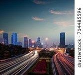 the urban traffic at shenzhen...   Shutterstock . vector #714485596