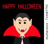 count dracula head face wearing ... | Shutterstock .eps vector #714487792