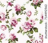 shabby chic vintage roses ... | Shutterstock . vector #714492562