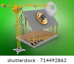 3d illustration of house frame... | Shutterstock . vector #714492862