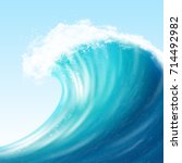 realistic sea big wave with... | Shutterstock .eps vector #714492982