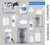 set of milk product in various... | Shutterstock .eps vector #714493096