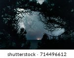 beautiful scenery of the starry ... | Shutterstock . vector #714496612