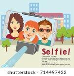 family makes selfies. family... | Shutterstock .eps vector #714497422