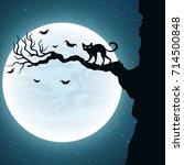 background for halloween. black ... | Shutterstock .eps vector #714500848