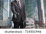 a robot businessman with open... | Shutterstock . vector #714501946