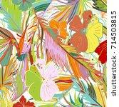 hand drawn tropical seamless... | Shutterstock .eps vector #714503815