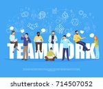 teamwork concept with coworking ... | Shutterstock .eps vector #714507052