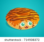 cute tiger donut with orange... | Shutterstock .eps vector #714508372