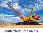 yellow mobile crane  on... | Shutterstock . vector #714509416