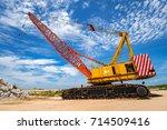 yellow mobile crane  on... | Shutterstock . vector #714509416