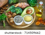 foods rich in vitamin e such as ... | Shutterstock . vector #714509662