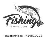 fishing sport club logo. hand...   Shutterstock .eps vector #714510226