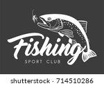 fishing sport club logo. hand... | Shutterstock .eps vector #714510286