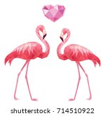 two flamingos and a crystal... | Shutterstock .eps vector #714510922