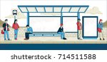 passengers at bus stop. cartoon ... | Shutterstock .eps vector #714511588