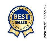 ribbon award best seller. gold... | Shutterstock .eps vector #714522712