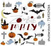 hand drawn halloween set.... | Shutterstock .eps vector #714524266