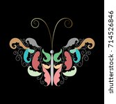 vintage butterfly with floral... | Shutterstock .eps vector #714526846