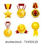 Gold Medal  Set Vector Icons