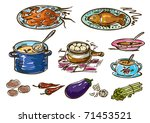 illustration with colorful food | Shutterstock .eps vector #71453521