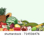 vector hand drawn fruit and... | Shutterstock .eps vector #714536476