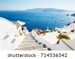 white architecture on santorini ... | Shutterstock . vector #714536542