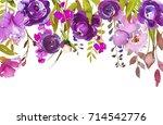 purple watercolor floral drop... | Shutterstock . vector #714542776