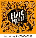 happy halloween lettering logo. ... | Shutterstock .eps vector #714545332