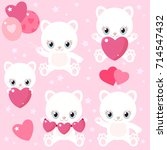 set of cute cats for valentine...   Shutterstock .eps vector #714547432