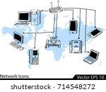 doodle lan network icons vector ... | Shutterstock .eps vector #714548272