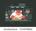 evil professor doing experiment ... | Shutterstock .eps vector #714549862