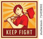 vintage propaganda poster  a... | Shutterstock .eps vector #714558502