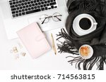workspace with laptop  planner  ... | Shutterstock . vector #714563815