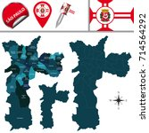 vector map of sao paulo with... | Shutterstock .eps vector #714564292