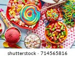 a close up of assorted ... | Shutterstock . vector #714565816