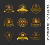 oktoberfest labels  badges and... | Shutterstock .eps vector #714568756