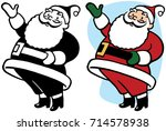 santa claus gestures and points ... | Shutterstock .eps vector #714578938