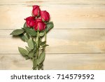 Red Roses On A Beautiful Woode...