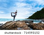 asian women stretching and... | Shutterstock . vector #714593152