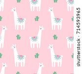cute lama with cacti seamless... | Shutterstock .eps vector #714593965