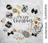 merry christmas card with black ... | Shutterstock . vector #714593992