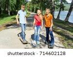 active kids skateboarding | Shutterstock . vector #714602128