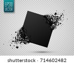 black square stone with debris... | Shutterstock .eps vector #714602482